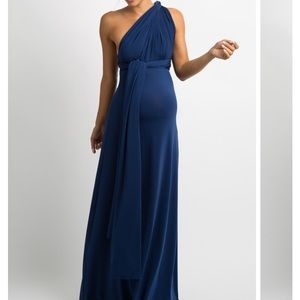 Navy blue floor length maternity gown- convertible
